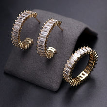 Load image into Gallery viewer, ARIA Luxe Cz Gold Plated Hoop Earrings & Ring Set - 4 Colours Available! - Pompous Peacock