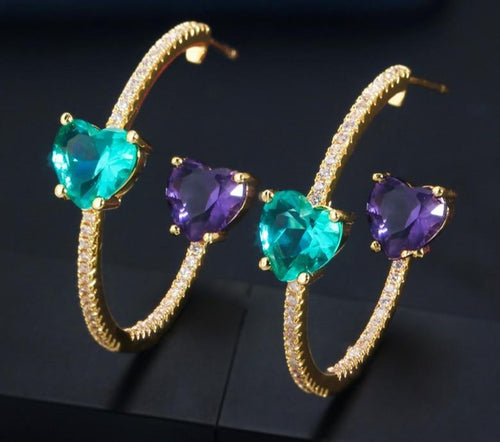 BRITNEY Luxe Heart Cz Hoop Earrings - 2 Colours Available! - Pompous Peacock