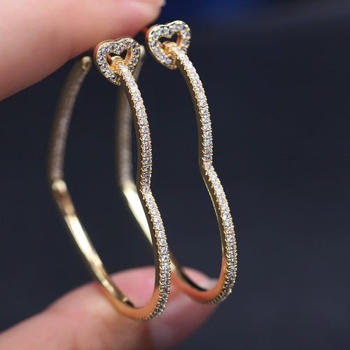 HARLOW Heart Cz Hoop Earrings - 2 Colours Available! - Pompous Peacock