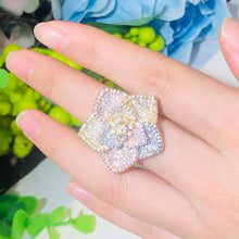 Load image into Gallery viewer, FRANGIPANI Luxe Tricolour Gold Plated Cz Floral Ring - Pompous Peacock