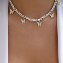 Load image into Gallery viewer, BUTTERFLY Luxe Gold Plated Cz Tennis Necklace COLLECTION - 3 Colours Available! - Pompous Peacock