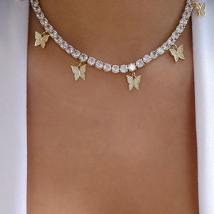 BUTTERFLY Luxe Gold Plated Cz Tennis Necklace COLLECTION - 3 Colours Available! - Pompous Peacock