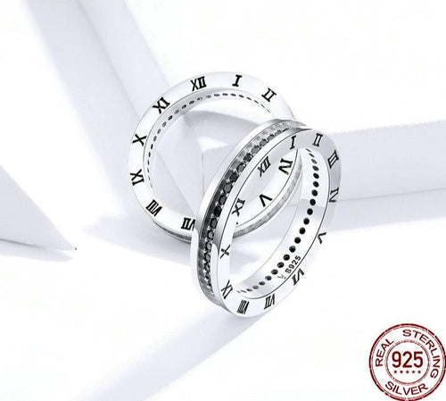 ROMAN Numeral 925 Sterling Silver Cz Ring - Pompous Peacock