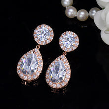 Load image into Gallery viewer, THE CLASSIC PEAR DROP Cz Earrings - 3 Colours Available - Pompous Peacock