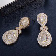 Load image into Gallery viewer, JOLIE Luxe Micro Pave Gold Plated Cz Earrings - Pompous Peacock