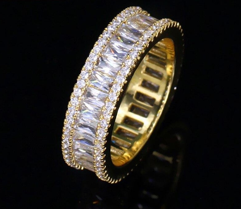 SEREIA LUXE Cz Gold Plated Tennis Ring - Pompous Peacock