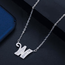 Load image into Gallery viewer, GLAM LETTER Luxe Cz Gold Plated Pendant Necklace - Pompous Peacock