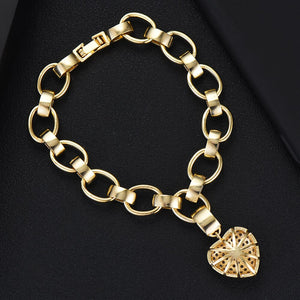 HEART Luxe Gold Plated Cz Chain Link Bracelet - Pompous Peacock