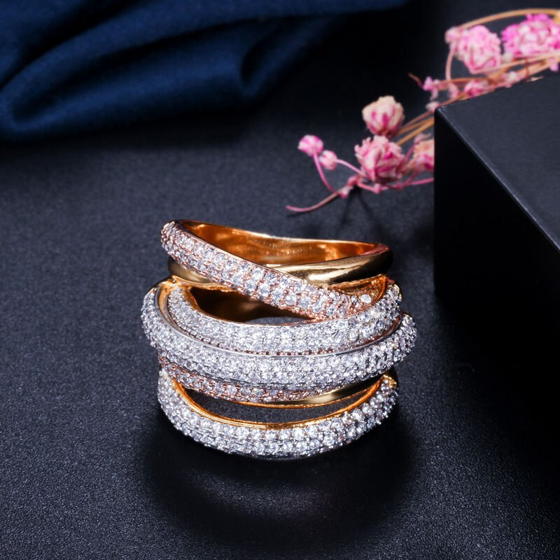 TRICOLOUR Luxe Cz Gold Plated Stacked Rings - 2 Colours Available! - Pompous Peacock