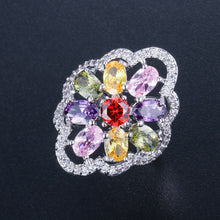 Load image into Gallery viewer, AZULEJOS LUXE Cz Cocktail Ring - 5 Colours Available! - Pompous Peacock