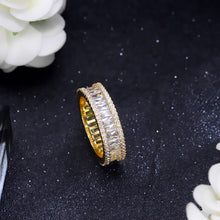 Load image into Gallery viewer, SEREIA LUXE Cz Gold Plated Tennis Ring - Pompous Peacock