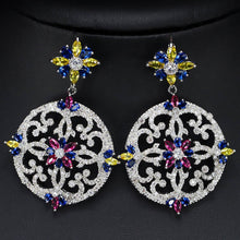 Load image into Gallery viewer, AZULEJOS LUXE Cz Earrings - 4 Colours Available! - Pompous Peacock