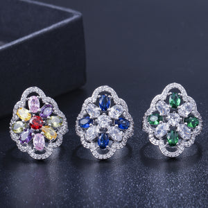 AZULEJOS LUXE Cz Cocktail Ring - 5 Colours Available! - Pompous Peacock