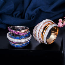 Load image into Gallery viewer, TRICOLOUR Luxe Cz Gold Plated Stacked Rings - 2 Colours Available! - Pompous Peacock