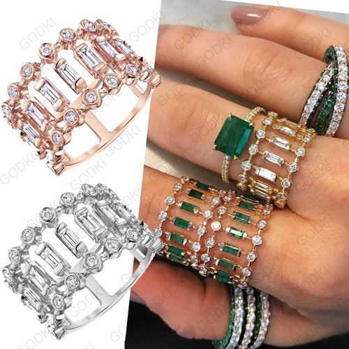 ARTDECO Cz Gold Plated Eternity Ring - 6 Colours Available! - Pompous Peacock