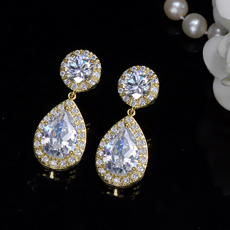 THE CLASSIC PEAR DROP Cz Earrings - 3 Colours Available - Pompous Peacock