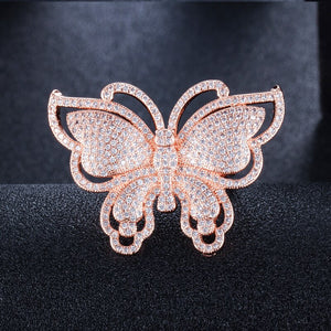 BUTTERFLY Micro Pave Gold Plated Cz Ring - 2 Colours Available - Pompous Peacock