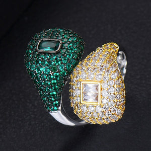 RIVERA Luxe Cz Gold Plated Ring Set - 14 Colour Sets Available! - Pompous Peacock