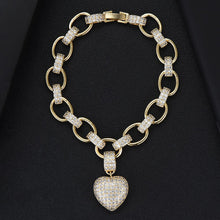 Load image into Gallery viewer, HEART Luxe Gold Plated Cz Chain Link Bracelet - Pompous Peacock