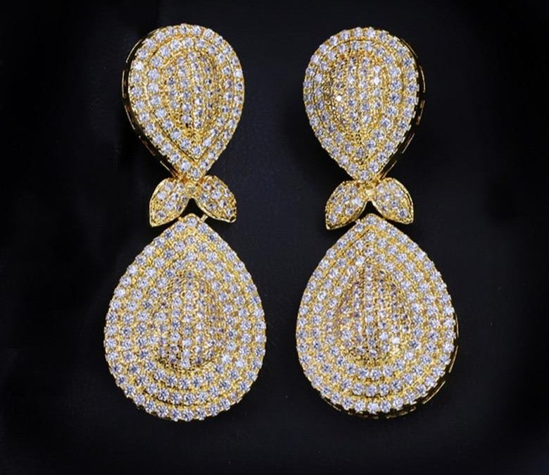 JOLIE Luxe Micro Pave Gold Plated Cz Earrings - Pompous Peacock