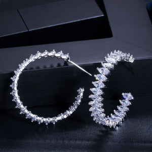 MARQUESA Luxe Marquise Cut Cz Glam Hoop Earrings - Pompous Peacock
