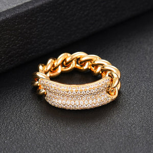 PRISCILLA Luxe Cuban Chain Link Cz Ring - 4 Colours Available! - Pompous Peacock