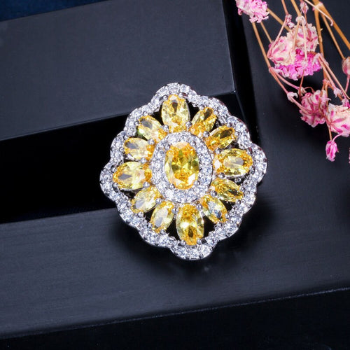 CANARY LUXE Gold Plated Cz Cocktail Ring - Pompous Peacock