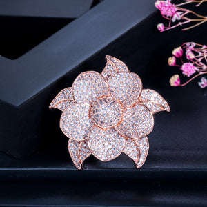 FLORAGRAND Luxe Micro Pave Rose Gold Plated Cz Ring - Pompous Peacock