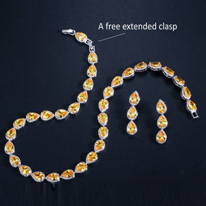 GALA Luxe Gold Plated Cz Tennis Jewelry Set - 3 Colours Available! - Pompous Peacock