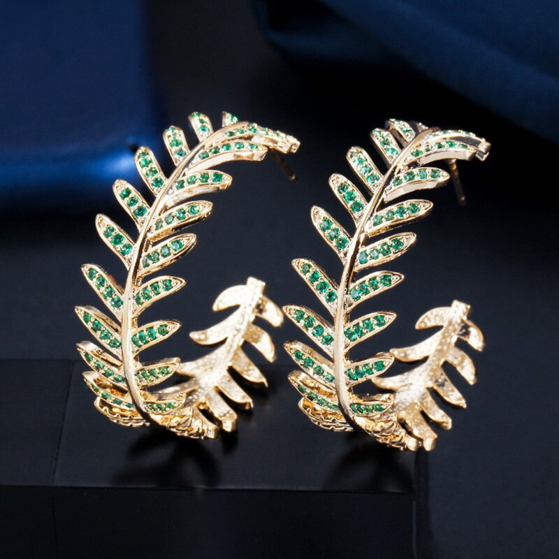 TROPICAL GLAM Gold Hoop Earrings - Pompous Peacock