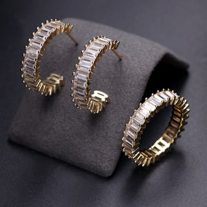 ARIA Luxe Cz Gold Plated Hoop Earrings & Ring Set - 4 Colours Available! - Pompous Peacock