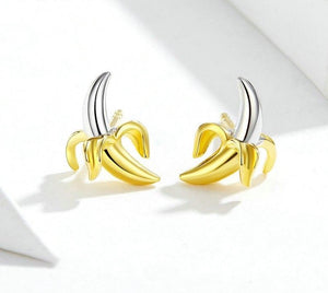 CHIQUITA BANANA 925 Sterling Silver Stud Earrings - Pompous Peacock