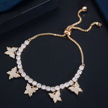 Load image into Gallery viewer, BUTTERFLY Gold Plated Adjustable Tennis Bracelet - 2 Colours Available! - Pompous Peacock