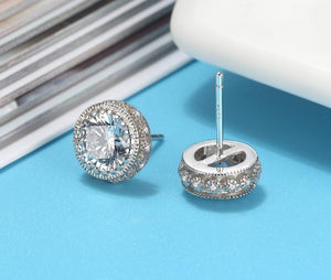 SPARKLE Cz 925 Sterling Silver Stud Earrings & Necklace COLLECTION - Pompous Peacock