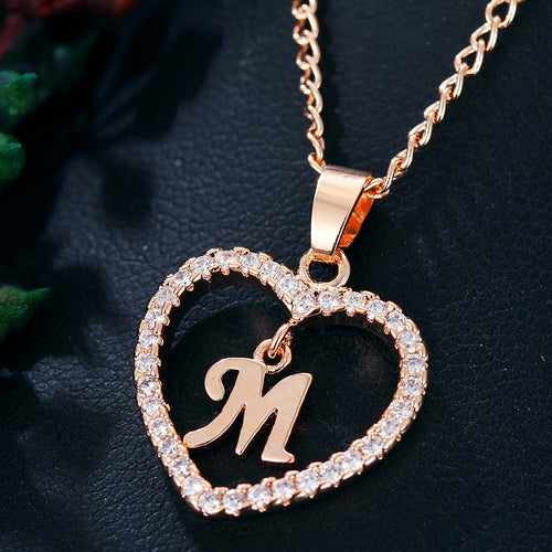 CAMILA Golden Heart Letter Pendant Necklace - Pompous Peacock