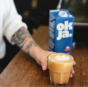 okra oat milk and coffee