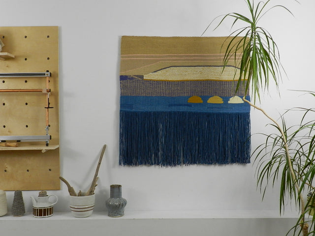 Woven wall hanging artwork made in Canada with naturally dyed, eco-conscious Everlea Yarn.