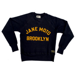 JANE ORGANIC COTTON CREWNECK SWEATSHIRT with GOLD FELT LETTERING - BLACK