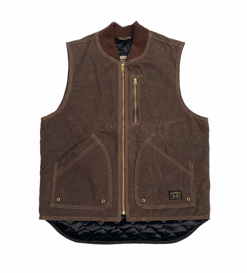 THE BQE Heavyweight Waxed Canvas Vest - Brown