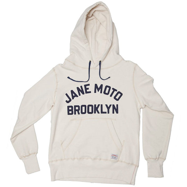 JANE ORGANIC COTTON HOODED SWEATSHIRT with FELT LETTERING - NATURAL