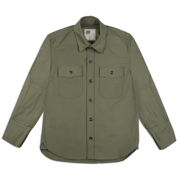 THE MERCER Riding Shirt -  Olive Sateen