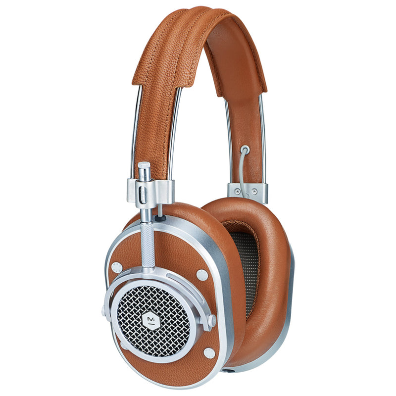 MASTER & DYNAMIC MH40 Over Ear Headphones - Silver Metal / Brown Leather