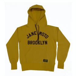 JANE ORGANIC COTTON HOODED SWEATSHIRT with BROWN LETTERING - MUSTARD YELLOW