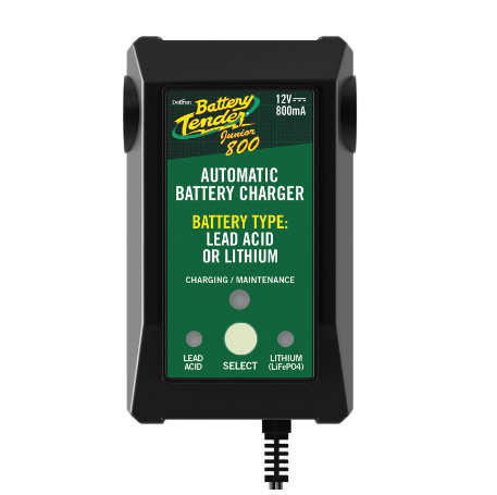 BATTERY TENDER JUNIOR 12V 800mA Selectable Lead Acid/Lithium Battery Charger