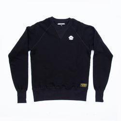 LIMITED EDITION CHAIN STITCHED JANE ORGANIC COTTON CREWNECK SWEATSHIRT with WHITE FELT LETTERING - BLACK
