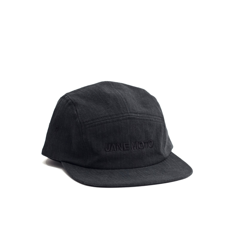 Herringbone 5 Panel Cap - Black