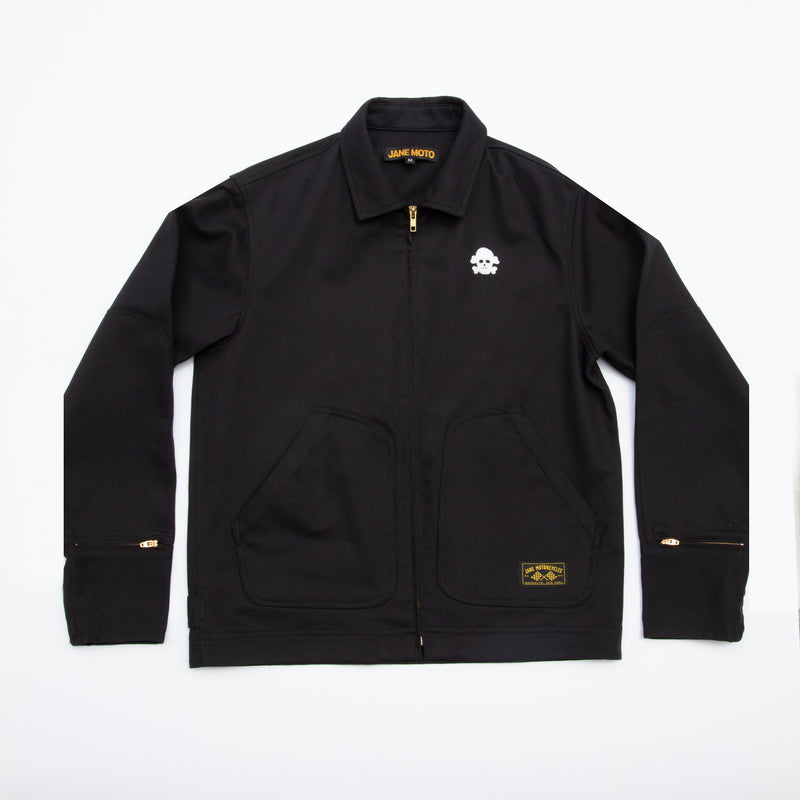 Limited Edition Chain Stitched Skull Mechanic's Jacket - Black