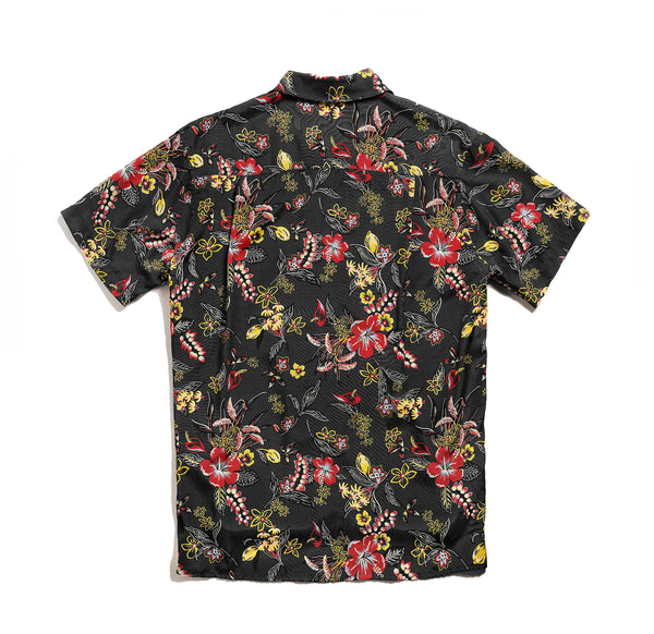 Hawaiian Shirt - Black Floral