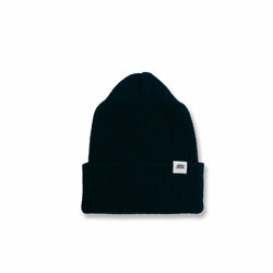 MERINO WOOL WATCH CAP - BLACK