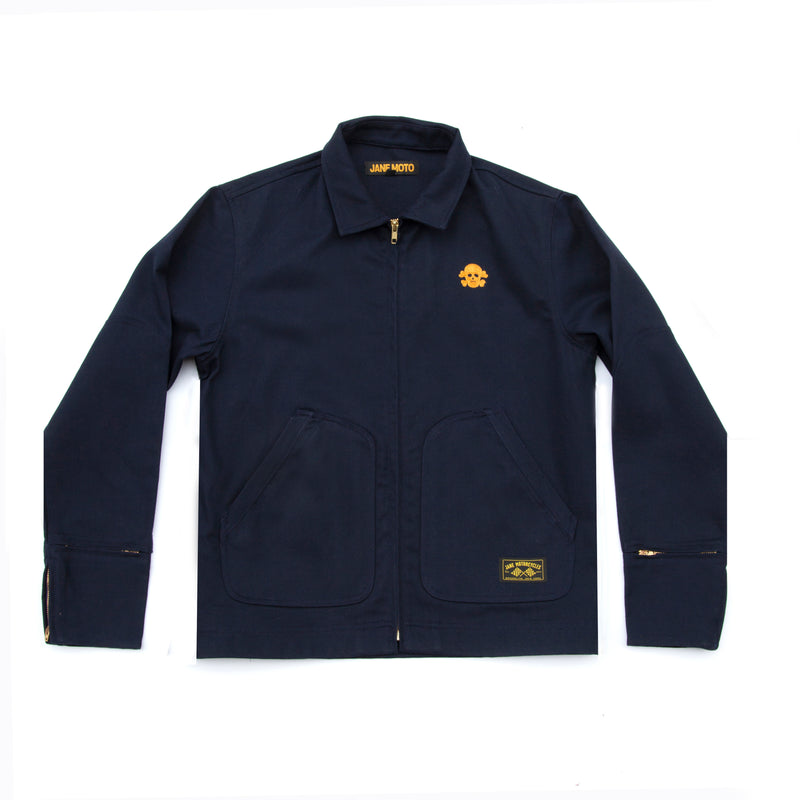 Limited Edition Chenille Skull Mechanic's Jacket - Navy